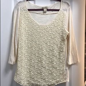 Lucky brand live to love cream top size L